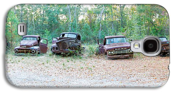 Antique Automobiles Galaxy S4 Cases - Old Rusty Cars And Trucks In A Field Galaxy S4 Case by Panoramic Images