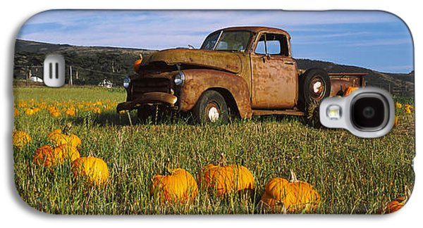 Half Moon Bay Galaxy S4 Cases - Old Rusty Truck In Pumpkin Patch, Half Galaxy S4 Case by Panoramic Images