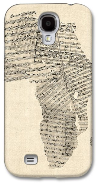 Old Sheet Music Map Of Africa Map Galaxy S4 Case by Michael Tompsett