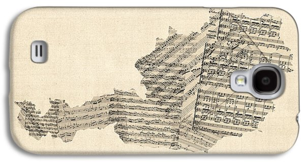 Old Sheet Music Map Of Austria Map Galaxy S4 Case by Michael Tompsett