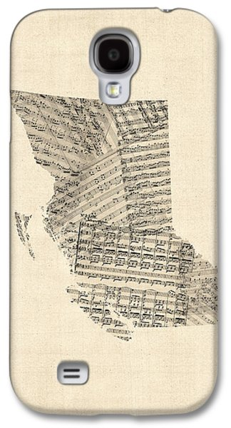 Old Map Digital Galaxy S4 Cases - Old Sheet Music Map of British Columbia Canada Galaxy S4 Case by Michael Tompsett