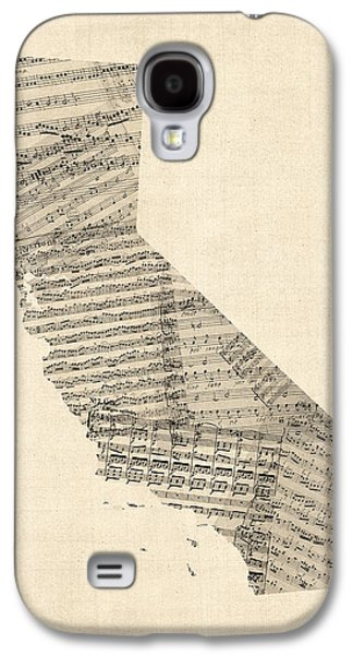 Old Map Digital Galaxy S4 Cases - Old Sheet Music Map of California Galaxy S4 Case by Michael Tompsett