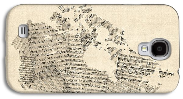 Cartography Digital Art Galaxy S4 Cases - Old Sheet Music Map of Canada Map Galaxy S4 Case by Michael Tompsett