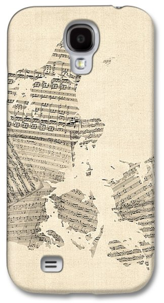Old Map Digital Galaxy S4 Cases - Old Sheet Music Map of Denmark Galaxy S4 Case by Michael Tompsett