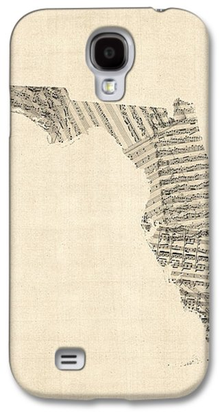 Old Map Digital Galaxy S4 Cases - Old Sheet Music Map of Florida Galaxy S4 Case by Michael Tompsett