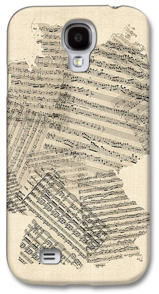 Deutschland Galaxy S4 Cases - Old Sheet Music Map of Germany Map Galaxy S4 Case by Michael Tompsett