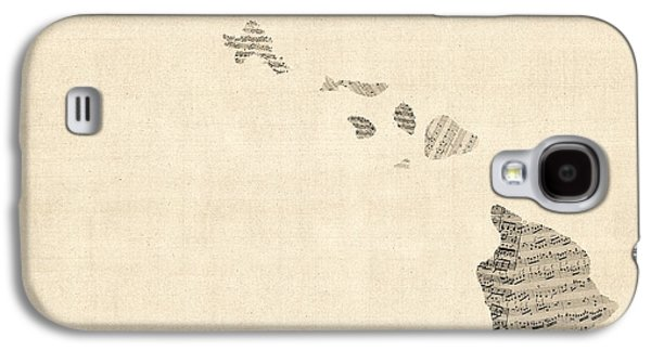 Old Map Digital Galaxy S4 Cases - Old Sheet Music Map of Hawaii Galaxy S4 Case by Michael Tompsett