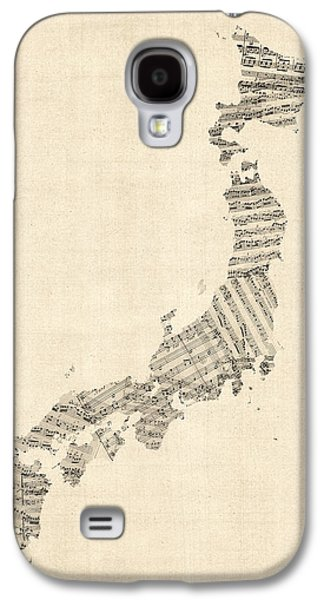 Cartography Digital Art Galaxy S4 Cases - Old Sheet Music Map of Japan Galaxy S4 Case by Michael Tompsett