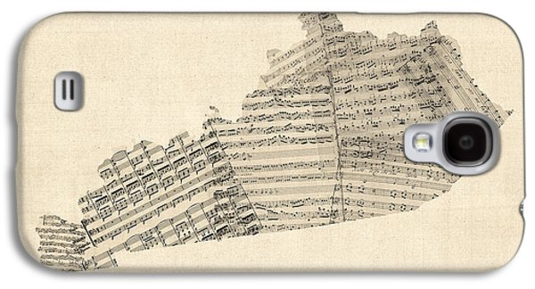 Sheet Galaxy S4 Cases - Old Sheet Music Map of Kentucky Galaxy S4 Case by Michael Tompsett