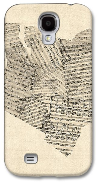 Old Sheet Music Map Of Kenya Map Galaxy S4 Case by Michael Tompsett