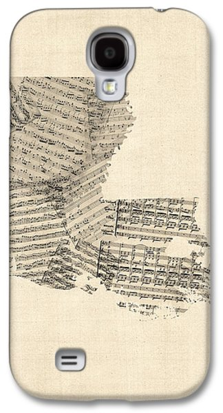 Old Map Digital Galaxy S4 Cases - Old Sheet Music Map of Louisiana Galaxy S4 Case by Michael Tompsett