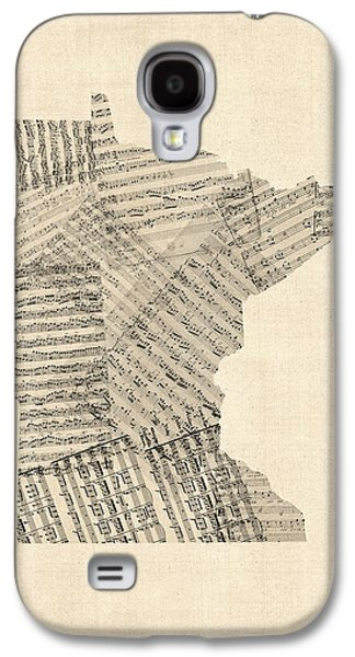 Old Map Digital Galaxy S4 Cases - Old Sheet Music Map of Minnesota Galaxy S4 Case by Michael Tompsett