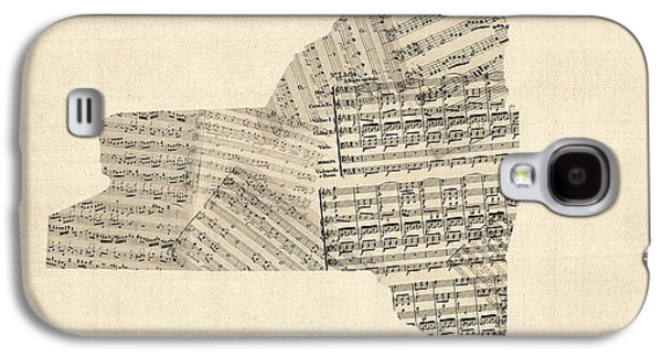 Old Map Digital Galaxy S4 Cases - Old Sheet Music Map of New York State Galaxy S4 Case by Michael Tompsett