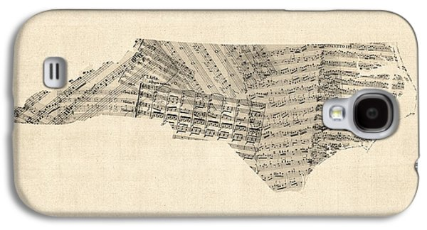 Old Map Digital Galaxy S4 Cases - Old Sheet Music Map of North Carolina Galaxy S4 Case by Michael Tompsett