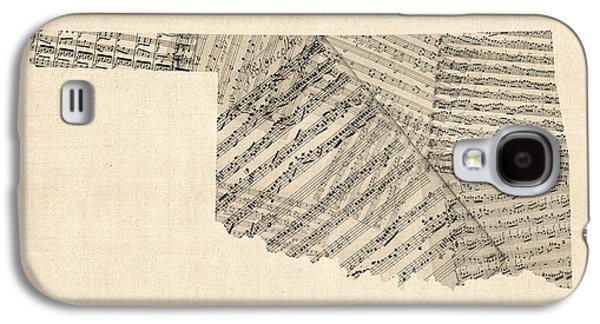 Old Map Digital Galaxy S4 Cases - Old Sheet Music Map of Oklahoma Galaxy S4 Case by Michael Tompsett