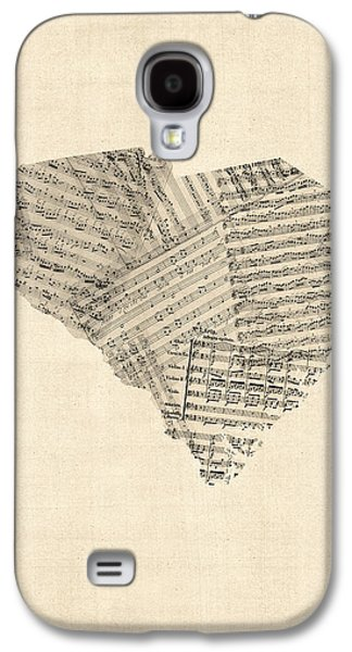 Old Map Digital Galaxy S4 Cases - Old Sheet Music Map of South Carolina Galaxy S4 Case by Michael Tompsett