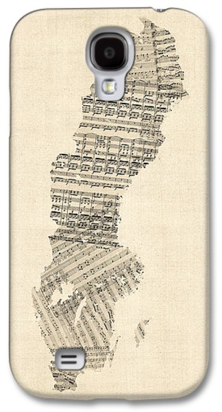 Old Map Digital Galaxy S4 Cases - Old Sheet Music Map of Sweden Galaxy S4 Case by Michael Tompsett