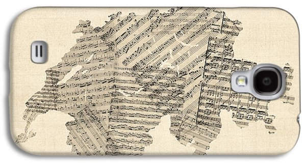 Old Sheet Music Map Of Switzerland Map Galaxy S4 Case by Michael Tompsett