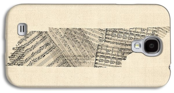 Old Map Digital Galaxy S4 Cases - Old Sheet Music Map of Tennessee Galaxy S4 Case by Michael Tompsett
