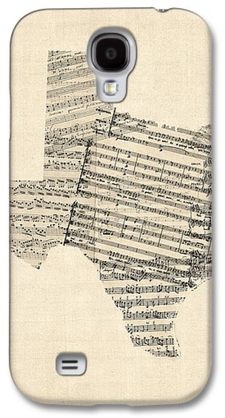 Cartography Digital Art Galaxy S4 Cases - Old Sheet Music Map of Texas Galaxy S4 Case by Michael Tompsett