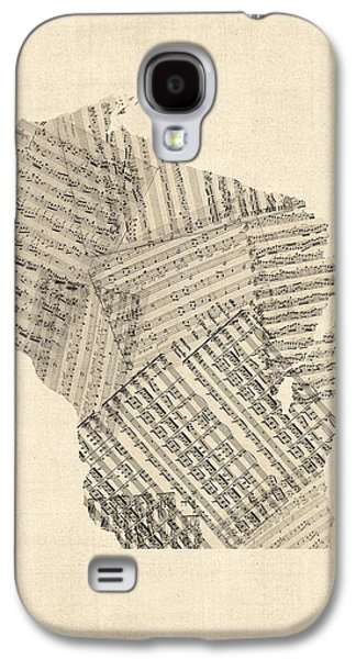 Old Map Digital Galaxy S4 Cases - Old Sheet Music Map of Wisconsin Galaxy S4 Case by Michael Tompsett