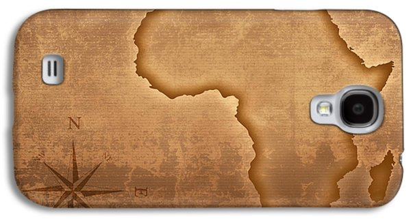 Dirty Digital Art Galaxy S4 Cases - Old style Africa map Galaxy S4 Case by Johan Swanepoel