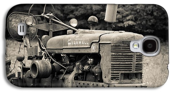 Old Tractor Black And White Square Galaxy S4 Case by Edward Fielding