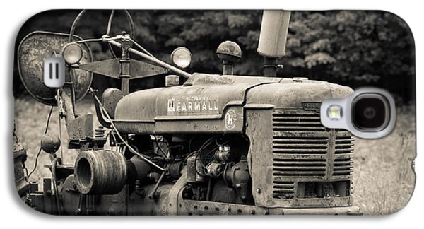 Pasture Scenes Photographs Galaxy S4 Cases - Old Tractor Black and White Square Galaxy S4 Case by Edward Fielding