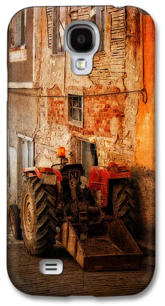 Machinery Galaxy S4 Cases - Old tractor in a small village street Galaxy S4 Case by Ken Biggs