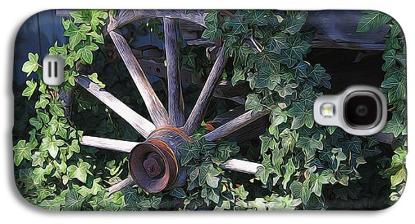 Wooden Wagons Galaxy S4 Cases - Old Wagon Wheel On The Farm Galaxy S4 Case by Dan Sproul