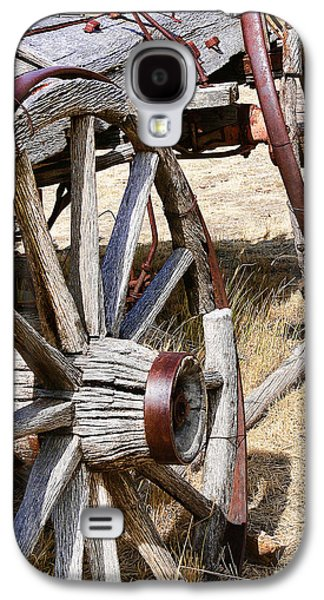 Wooden Wagons Galaxy S4 Cases - Old Wagon Wheels from Montana Galaxy S4 Case by Jennie Marie Schell