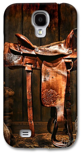 Saddle Galaxy S4 Cases - Old Western Saddle Galaxy S4 Case by Olivier Le Queinec