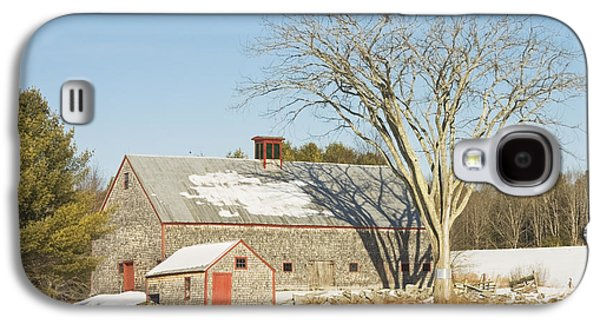 New England Snow Scene Galaxy S4 Cases - Old Wood Shingled Barn In Winter Maine Galaxy S4 Case by Keith Webber Jr