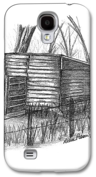 Old Barn Drawing Drawings Galaxy S4 Cases - Old Wooden Shed Galaxy S4 Case by Diane Palmer