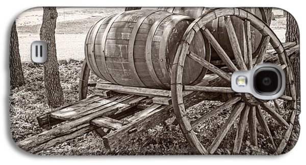 Wine Cart Galaxy S4 Cases - Old wooden wine barrels and cart Galaxy S4 Case by IBC Stock Images