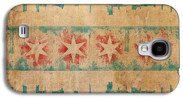 North America Galaxy S4 Cases - Old World Chicago Flag Galaxy S4 Case by Mike Maher
