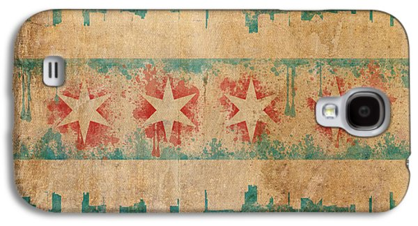 Architecture Mixed Media Galaxy S4 Cases - Old World Chicago Flag Galaxy S4 Case by Mike Maher