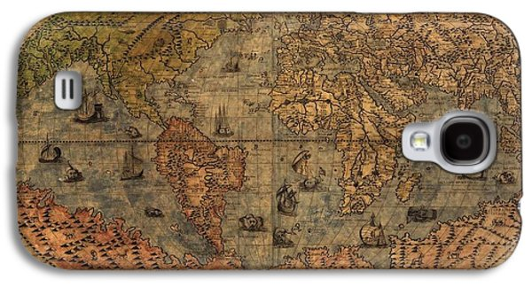 America The Continent Mixed Media Galaxy S4 Cases - Old World Map Galaxy S4 Case by Dan Sproul