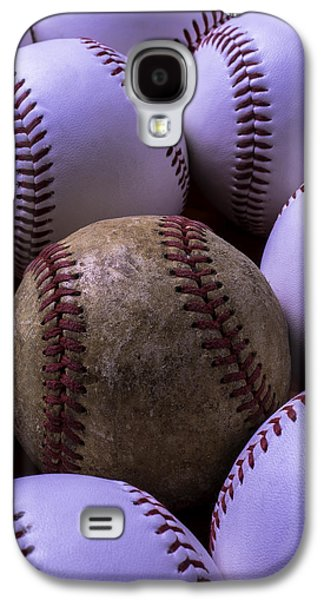 Sports Photographs Galaxy S4 Cases - Old Worn Baseball Galaxy S4 Case by Garry Gay