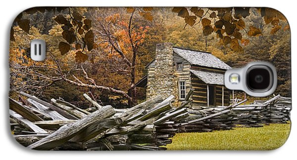 Log Cabin Photographs Galaxy S4 Cases - Olivers Log Cabin during fall in the Great Smoky Mountains Galaxy S4 Case by Randall Nyhof