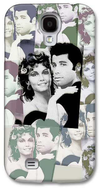 Character Portraits Mixed Media Galaxy S4 Cases - Olivia Newton John and John Travolta in Grease Collage Galaxy S4 Case by Tony Rubino