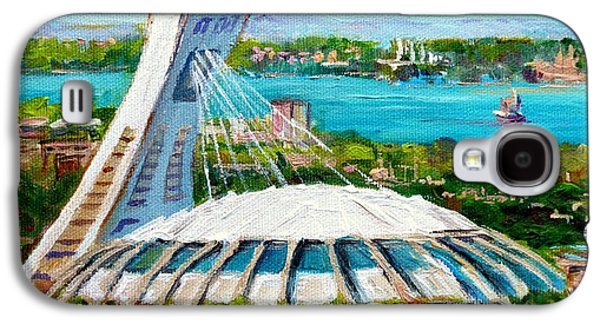Canadian Heritage Paintings Galaxy S4 Cases - Olympic Stadium Montreal Painting Velodrome Biodome Heritage Art By City Scene Artist Carole Spandau Galaxy S4 Case by Carole Spandau