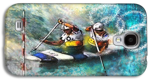 Canoe Mixed Media Galaxy S4 Cases - Olympics Canoe Slalom 01 Galaxy S4 Case by Miki De Goodaboom