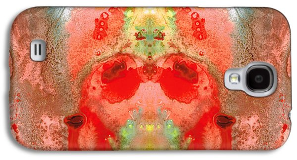 Hindu Goddess Galaxy S4 Cases - Om - Red Meditation - Abstract Art By Sharon Cummings Galaxy S4 Case by Sharon Cummings