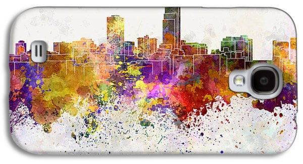 Recently Sold -  - Colorful Abstract Galaxy S4 Cases - Omaha skyline in watercolor background Galaxy S4 Case by Pablo Romero