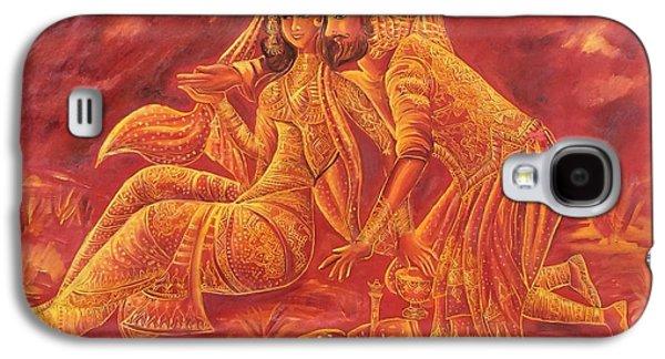 Omar Khayyam Galaxy S4 Cases - Omar Khayyam Romantic Scene in two tone Red and Gold Galaxy S4 Case by Jyoti Sharma