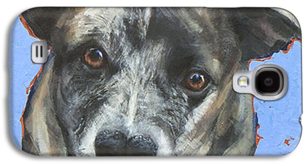 Cattle Dog Galaxy S4 Cases - On Blue Galaxy S4 Case by Mary Medrano