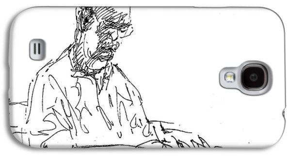Men Drawings Galaxy S4 Cases - On His Own World Galaxy S4 Case by Ylli Haruni