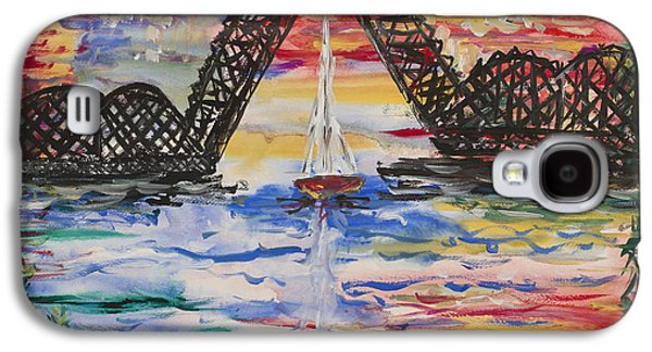 Golden Fish Paintings Galaxy S4 Cases - On The Hour. The Sailboat And The Steel Bridge Galaxy S4 Case by Andrew J Andropolis