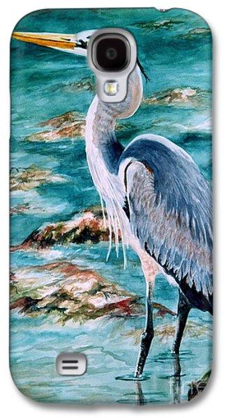 Cedar Key Galaxy S4 Cases - On the Rocks Great Blue Heron Galaxy S4 Case by Roxanne Tobaison
